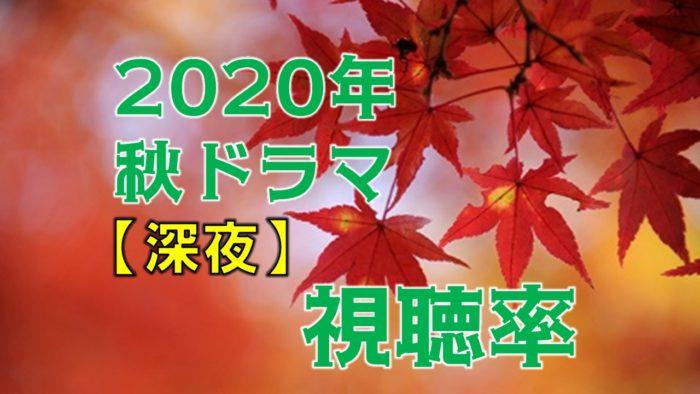 深夜ドラマ2020年10月~秋ドラマ 視聴率比較